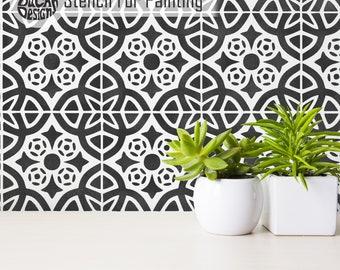 ALMERIA STENCIL - Mediterranean Spanish Furniture Wall Floor Tile Stencil for Painting - ALME01