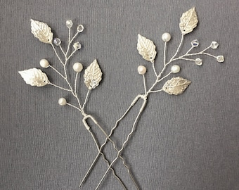 Silver leaf hair pin, silver wedding hair piece, set of 2, boho hair pin, ivy hairpiece, prom hair accessory, bridal hairpiece, ivy leaves