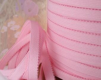 3yds Pink Elastic Ribbon Plain Trim Light Pink Stretch Sewing Trim 1/2 wide Bra Strap Plush back waistband Elastic by the yard