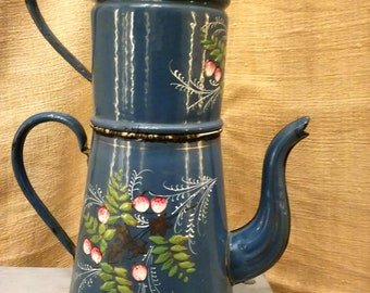 Antique enamelware French Coffee pot Blue hand painted cherries, Enameled COFFEE BIGGIN, Enameled coffee pot, Antique enameled coffee pot