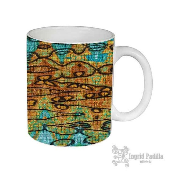 Abstract Mug, Patterned Mug, Mugs, turquoise, Unique Coffee Mug, USA, Ceramic Mug, Funky coffee cup, Artsy mug, Art on coffee cup, mug, art