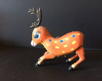 Vintage Tin Toy, Wind Up Toy, Hopping Deer Toy - 1970