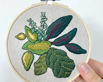 Embroidery Hoop Art. Houseplant Lovers Gift. Botanical Art. Plant Art. Wall Hanging. Home Decor. Boho Decor. Houseplant Gift. Original Art.