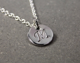 Tiny Sterling Silver Initial Necklace, Corsiva Font, Polished Finish, Made to Order