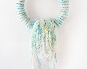 Aqua Wall Hanging, Wrapped BoHo Wreath, Turquoise Wrap, Hanging Waterfall, Upcycled Hanging, Yarn Hanging, Aqua Striped Hanging