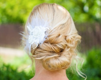Wedding Hair Clip, Wedding hairpiece, Wedding hair flower pin, Feather Clip, Bridal hair accessory, Flower clip, Flower Hair Accessory