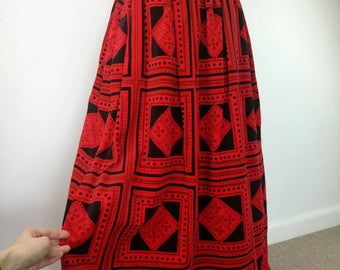 Vintage 60s/70s maxi skirt red black velvet maxi skirt geometric psychedelic pattern size XS