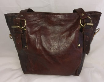 Organic leather tote made in light brown