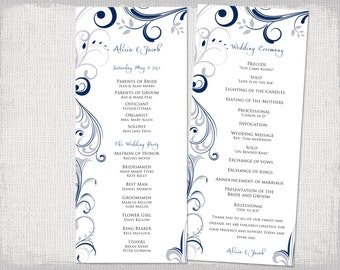 Wedding Program Fan Template Scroll Navy Amp Silver
