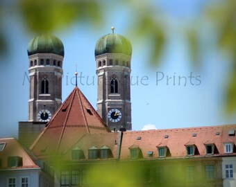 peek on munich cathedral, dome, church, clock tower, Summer 2015
