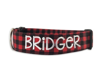Buffalo Plaid Dog Collar, Personalized Collar, Embroidered Collar, Christmas Collar, Dog Collar, Plaid Dog Collar, Christmas Plaid Dog