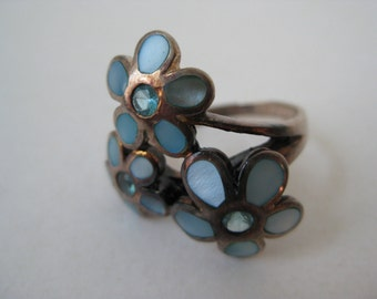 Flower Ring Blue Shell Sterling Silver Vintage 925 Size 8