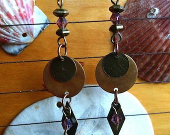 Bronze dangle earrings, beaded earrings, boho earrings, dangle bronze earrings, crystal bronze earrings