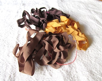 Vintage Rayon Seam Binding Three Yards Ruffled Scrunched Brown Gold Jewelry Ribbon Craft Supply