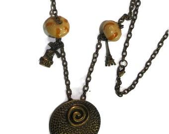 SPIRAL Necklace Bead glass/bronze