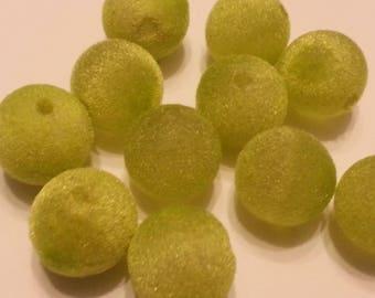 Set of 5 beads round Neon Green Velvet