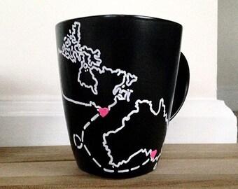 Custom Mug - Long Distance - States Mug - Best Friends Mug - Matte Mug - Personalized Quote Mug (Single Mug)