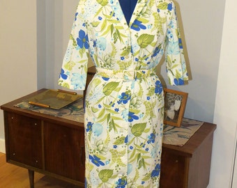 Vintage 1960s Dress | Floral shirtdress with matching belt in shades of Green and Blue | By Graff California wear | Size Medium - Large