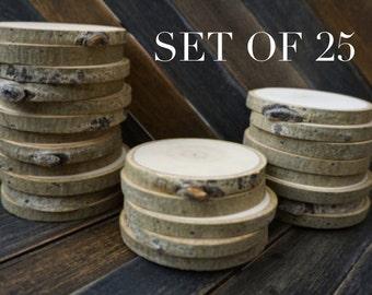 "Set of 25 3""-3.5"" Aspen Wood Slices - Rustic Wedding Decor - Tree Slices - Wood Discs - Tree Log Coasters - Deforations - DIY Wedding"
