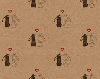 """Rabbits Wedding Wrapping Paper: Kraft Gift Wrap Sheet, with Love Bunnies (70cm x 50cm / 27.5"""" x 19.5"""")"""