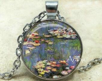 Monet's Waterlilies, Monet fine art pendant, Monet necklace, Monet pendant, Waterlilies necklace, Waterlilies pendant, Monet Pendant #AR131P