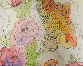 Coy fish Watercolor Painting