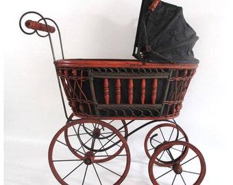 Victorian Doll Carriage, Vintage Doll Buggy Pram Perambulator Wood, Wicker Stroller Cottage Nursery Parlour Decor