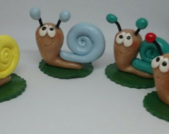 Super cute Snail , available in different Colors, Polymer Clay Figure
