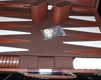 "Vintage BACKGAMMON Game set briefcase style case Brown color 23"" x 18"""