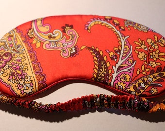 Silk Eye Mask , silk mask, red Paisley, silk outer , 100% cotton inner