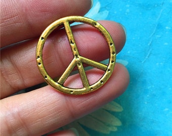 20pc 25mm antiqued gold peace sign charms findings