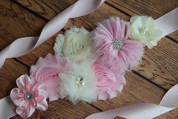 Flower Sash, Light pink and Ivory Sash , flower Belt, maternity sash
