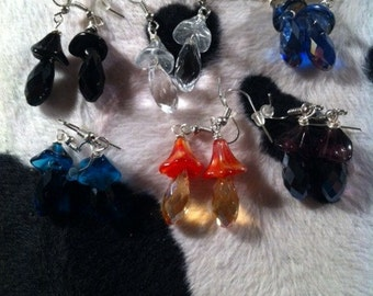 Teardrop and Flower Earrings - Pick Your Color