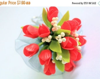 Miniature Polymer Clay Flowers Supplies Tulip Bouquet, Handcrafted Flowers 1 bunch
