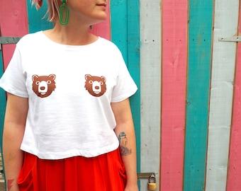 Bear Tits Crop Top, funny bear tee, summer tshirt, brown bear top, bears t-shirt, crop t shirt, animal tshirt, cropped top, white crop top,