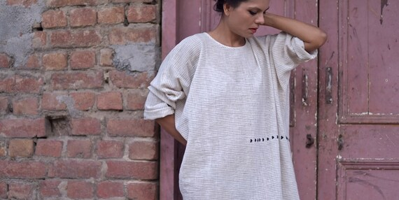 Long Mumbai Embroidery With Dress amp; Organic Charcoal Stripes Kala Cotton aarqxw4E