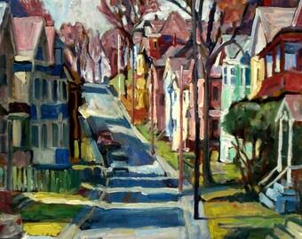 Oil Painting Landscape, American Street, Long Shadows. Original Plein Air Impressionist Painting