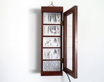 Wooden Wall Showcase with Paper Cut Silhouette Story and Light - Little Red Riding Hood