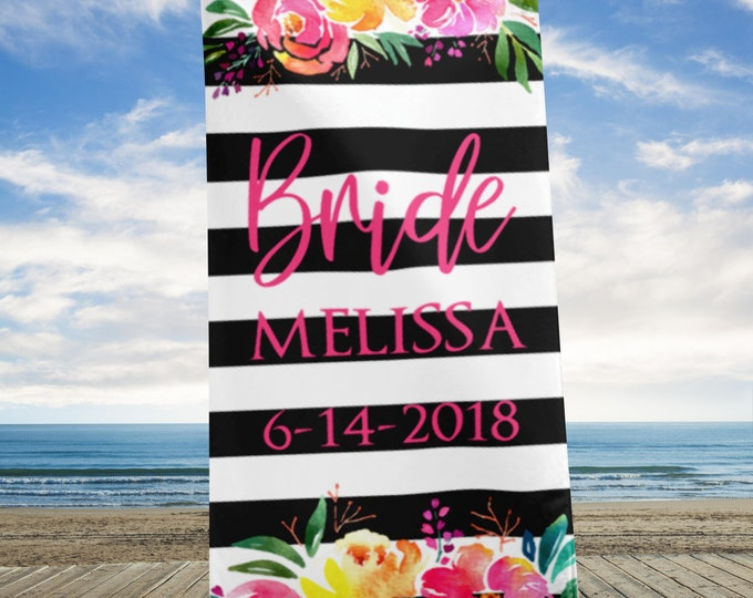 Custom Name Bride Beach Towel | Bride to be Towel | Personalized Beach Wedding | Customized beach Towel | Floral Wedding Towels | Bride Gift