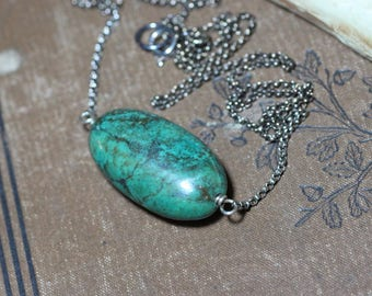 Turquoise Necklace Sterling Silver Big Turquoise Gemstone Bead Pendant Luxe Boho Rustic Jewelry