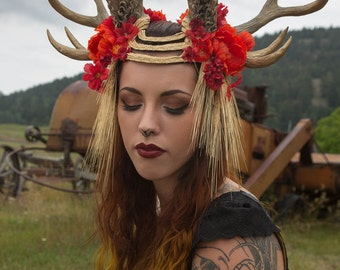 Memento Prairi© 10 Point Antler Jackalope Headdress