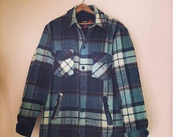 Vintage Heavy Plaid Wool Fleece Lined Jacket