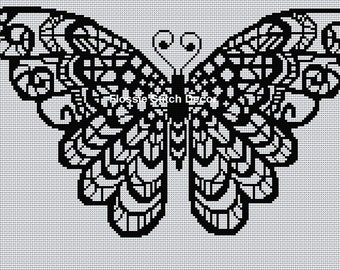 Blackwork Butterfly Cross Stitch Chart