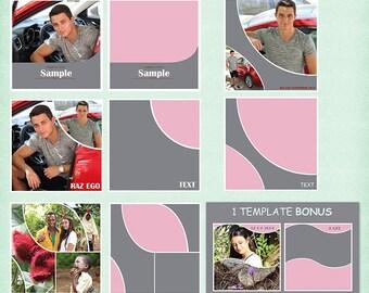 12x12 Photo Album Template Pack, 4 PSD Templates, Photo Collage, Yearbook Templates, Photoshop Templates, Photo Template,Scrapbook Templates