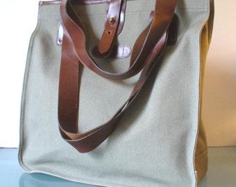 Vintage  Canvas & Leather Tote Bag