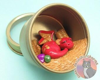 Dragon Hoard Magnet Terrarium - Recycled Tea Tin - Tabletop D&D Miniature