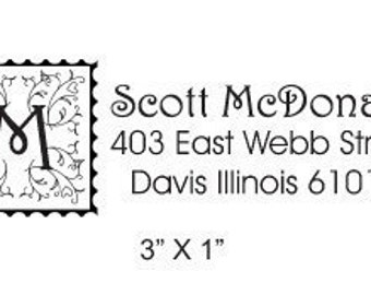 Custom Return Address Floral Monogram Rubber Stamp AD19