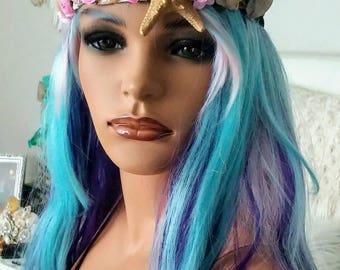 Rose gold Mermaid crown,hand painted red seashell starfish mermaid tiara, mermaid photo prop, Sea queen crown,mermaid costume accessory