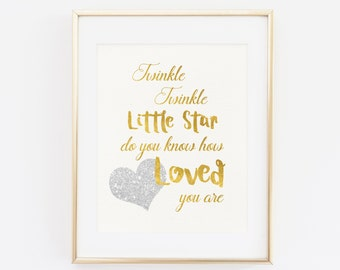 Twinkle twinkle little star do you know how loved you are, Baby Shower Decoration, Baby Gold and Silver, Gender Neutral Baby Nursery Decor