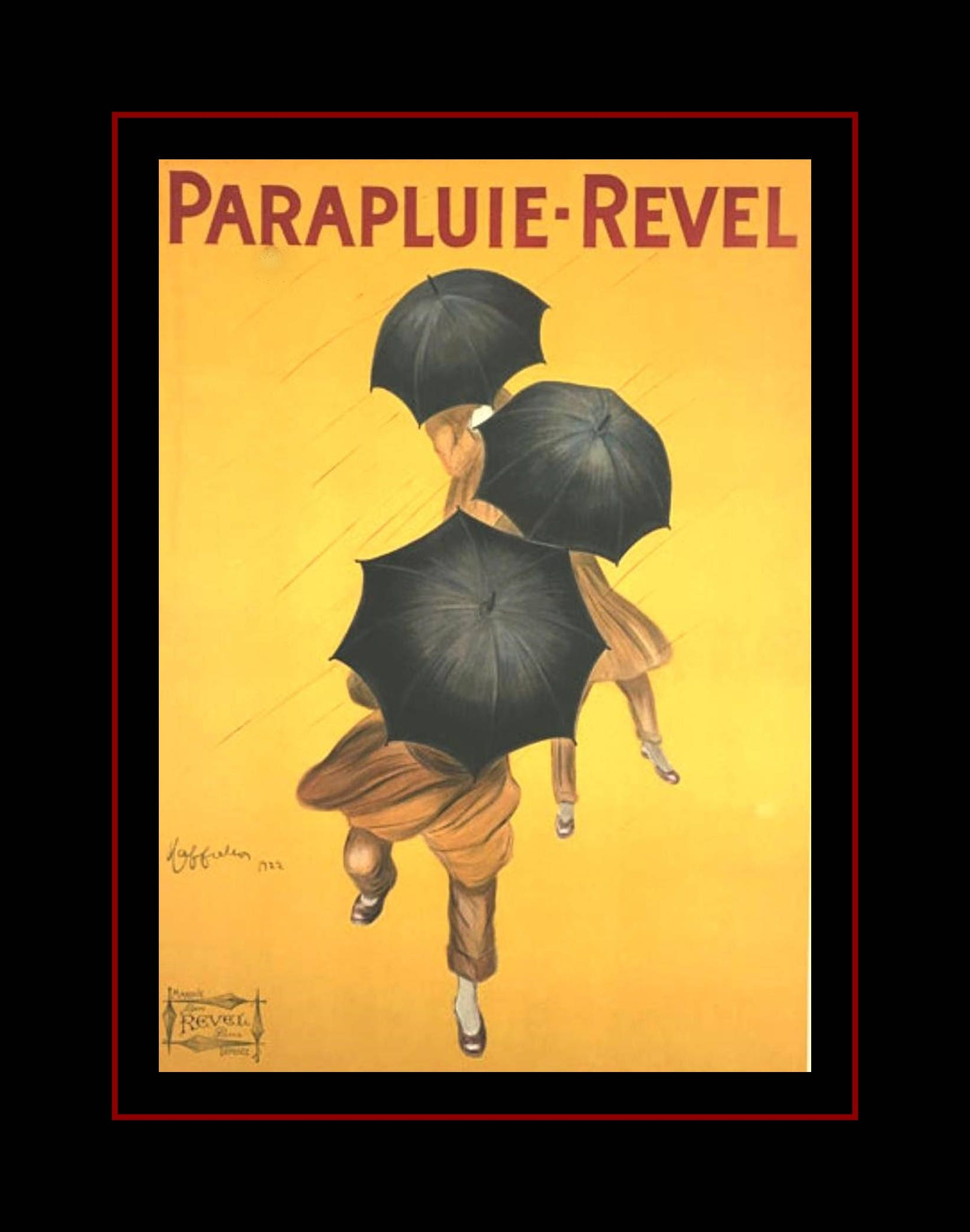 Vintage 1930s Umbrella Art Poster Fashion Wall Art Men
